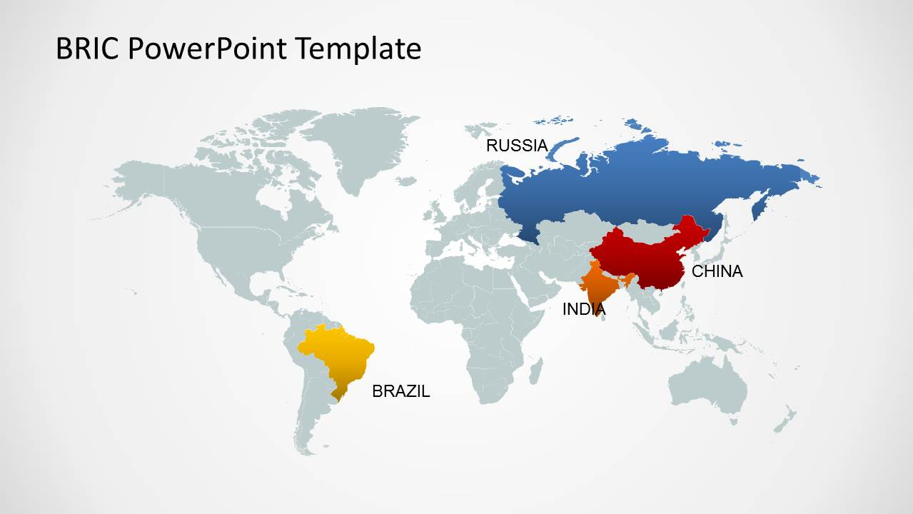 Bric maps template for powerpoint slidemodel editable world map template for powerpoint bric countries gumiabroncs Images