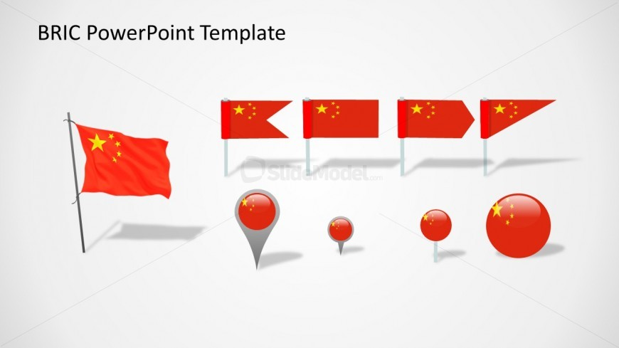 Useful cliparts of China flags and badges ready to be used in PowerPoint presentations