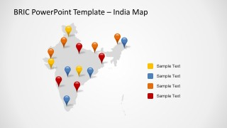 BRIC India Map Template Design for PowerPoint