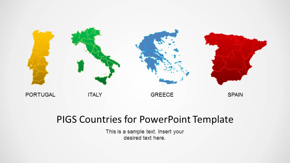 Map Of Spain Portugal And Italy.Pigs Countries For Powerpoint Template