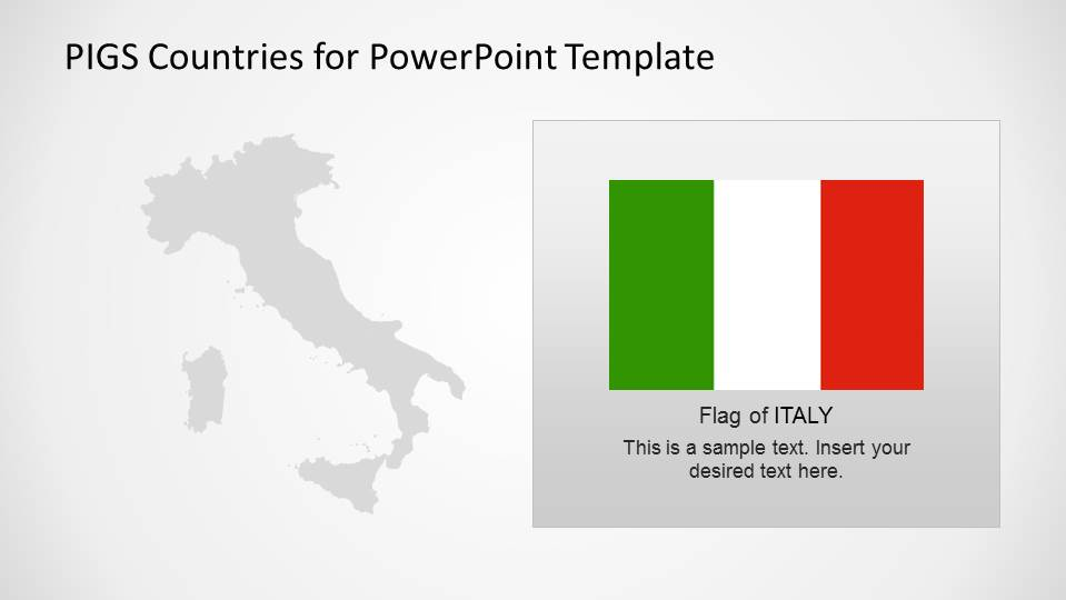 Italy Outline PowerPoint Map with Flag Textbox