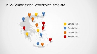 Greece PowerPoint Map with Marker Icons and Series Description
