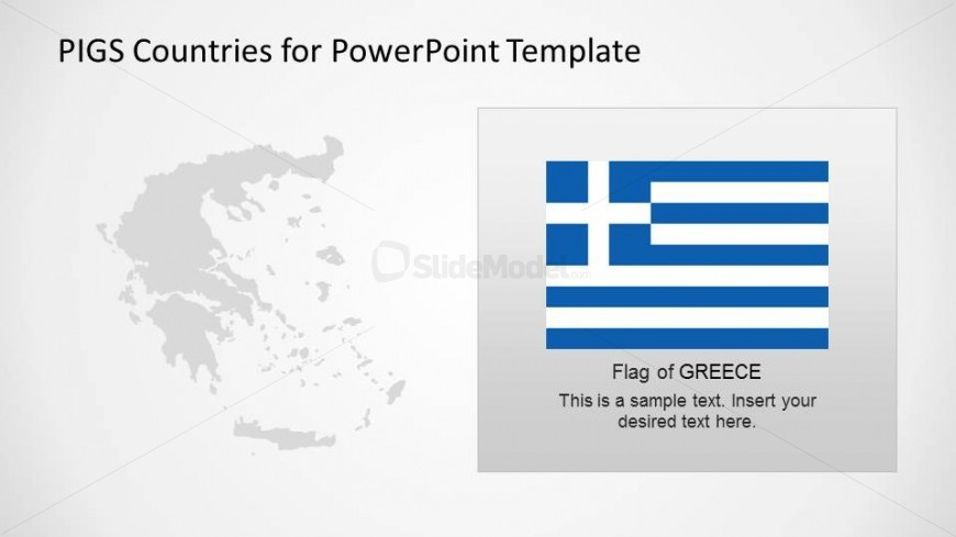 Greece powerpoint map and flag slidemodel for Greek flag template