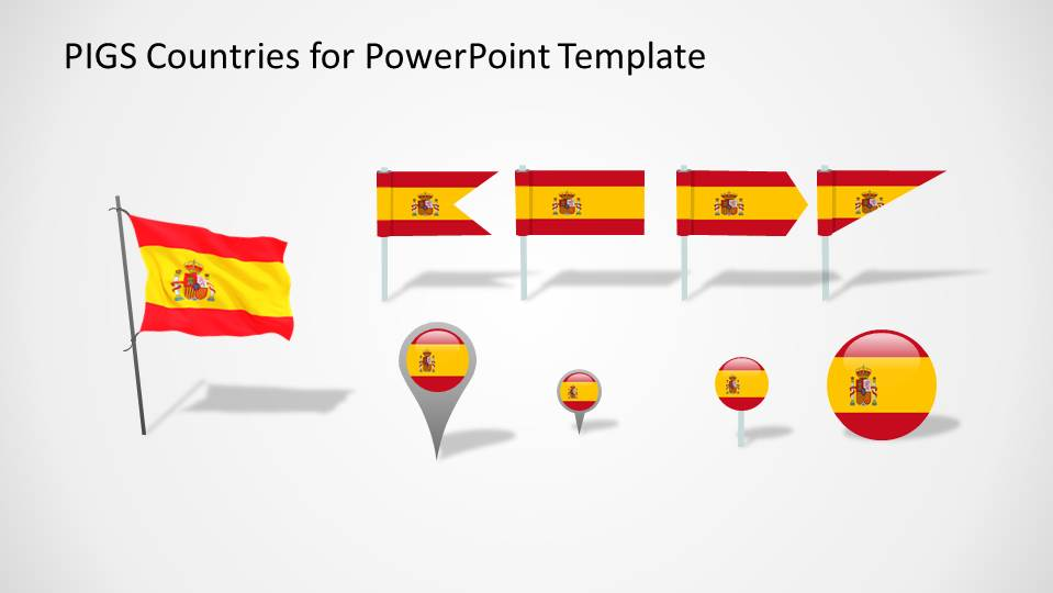 PowerPoint Flags and Icons with Spain Colors