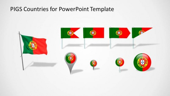 Portugal PowerPoint Flags and Marker Icons