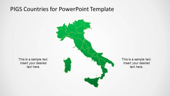 Italy Political PowerPoint Map with State Borders