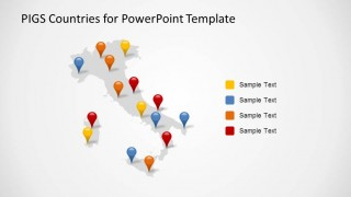 Italy PowerPoint Map with GPS Markers and Series Descriptions