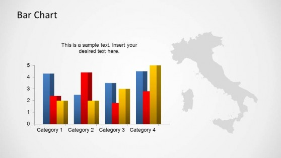 Italy Outline Map with Barchart Indicators