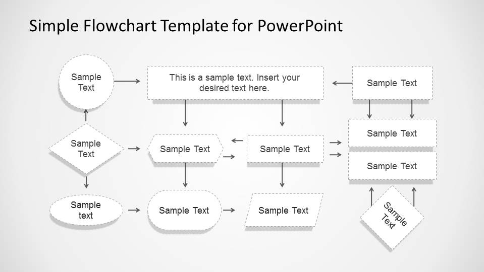 powerpoint flowchart template free - simple flowchart with dotted stroke for powerpoint