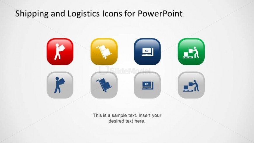 PowerPoint Icons Box Moving and Pallet Themes with Background Colors