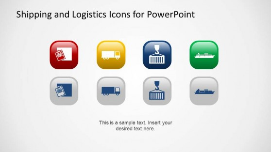 Shipping and Handling of Containers PowerPoint Icons with Background Colors