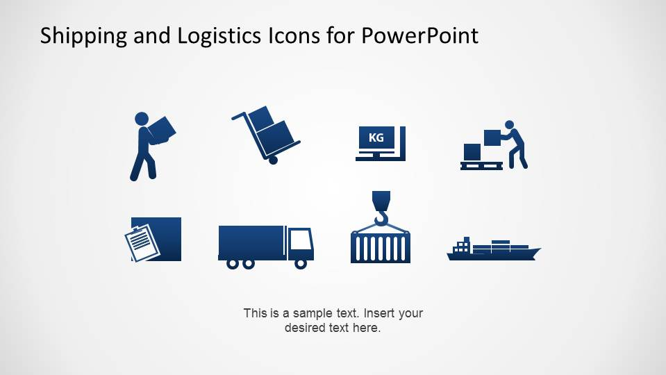 PowerPoint Icons with Shipping and Logistics Theme in Flat Design