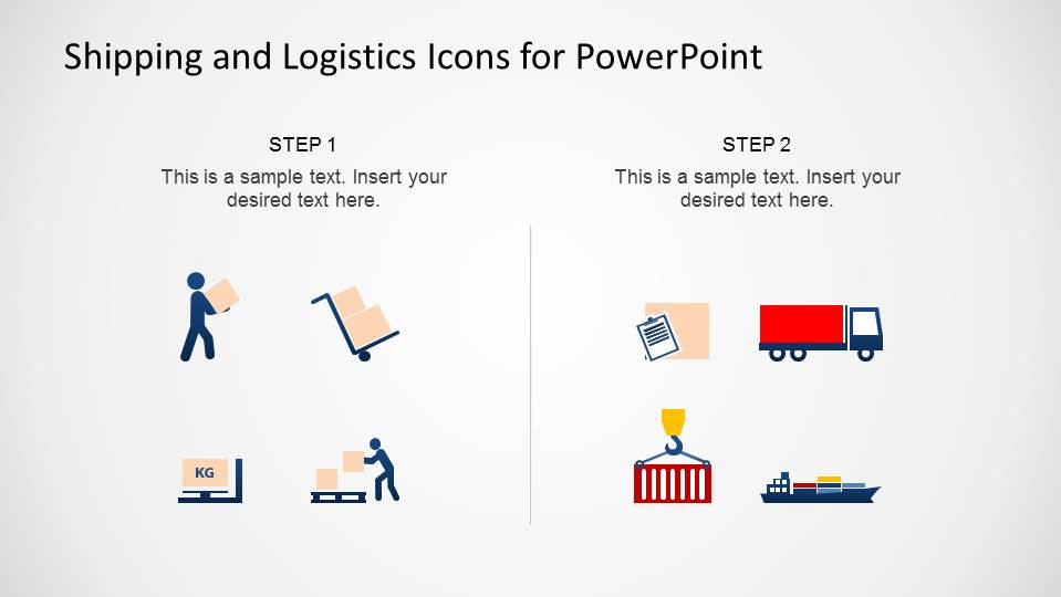 Colored Flat Design icons for Logistics and Shipping topics