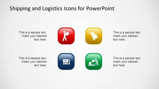 Colored 3D Lighting Effect Shipping and Logistics Icons