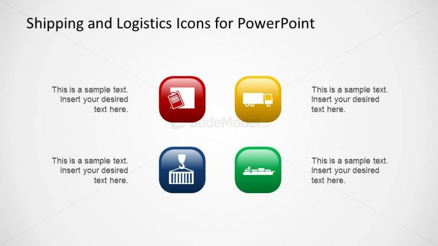 Shipping and Logistics PowerPoint Icons with 3D lighting effect and colored background