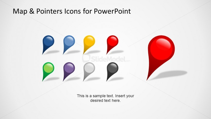 Free Google Maps Pointer Icon: Set Of Diagonal Map Pointer Icons For PowerPoint