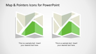 Creative slide design showing two editable map shapes or map icons that you can use in a PowerPoint presentation