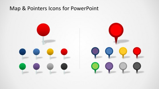 Map Pointer Icons for PowerPoint with Circles