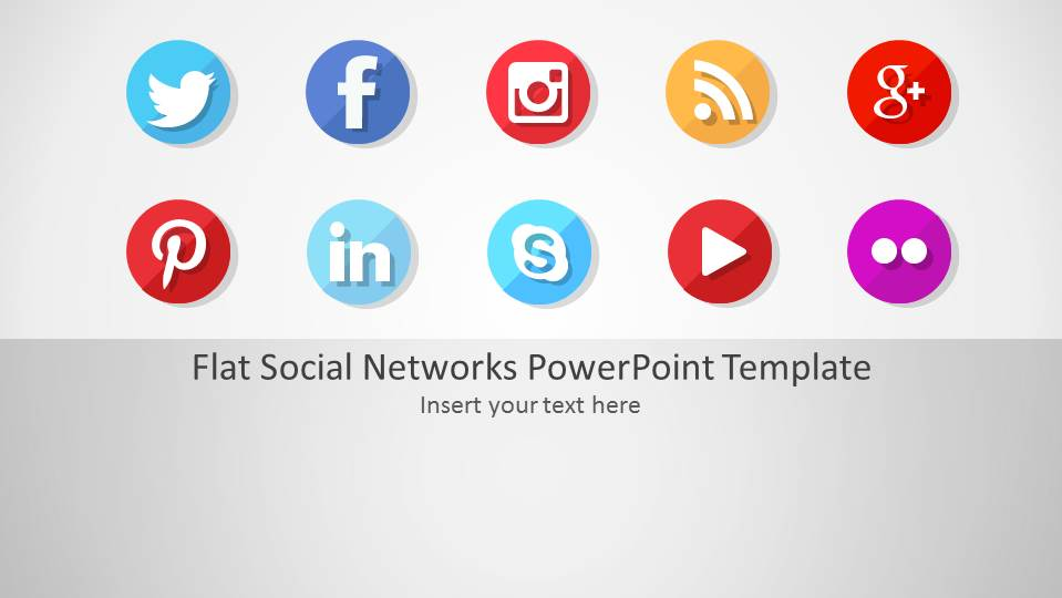 flat social networks powerpoint template - slidemodel, Presentation templates