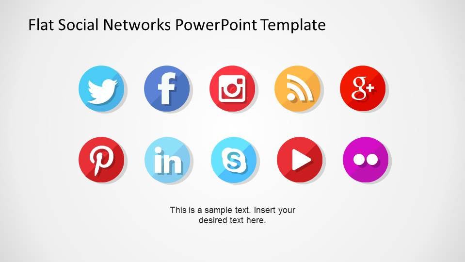 Circular Flat Design of the Popular Social Networks