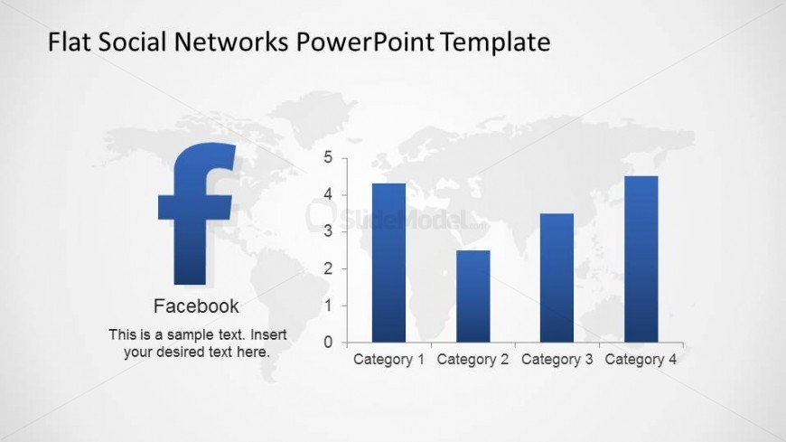 PowerPoint Slide with Facebook Logo and Bar chart showing Statistics