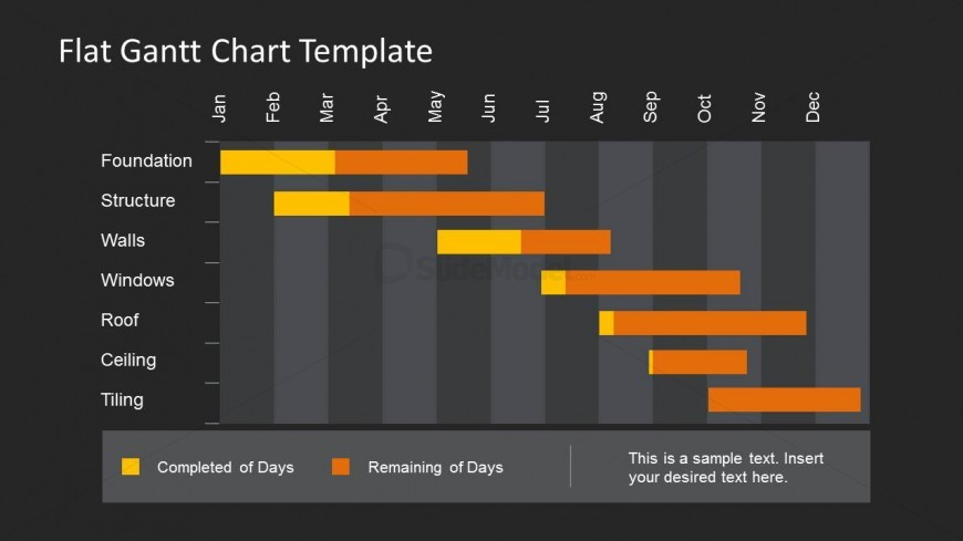 bullseye chart template - dark gantt chart template for powerpoint with flat style