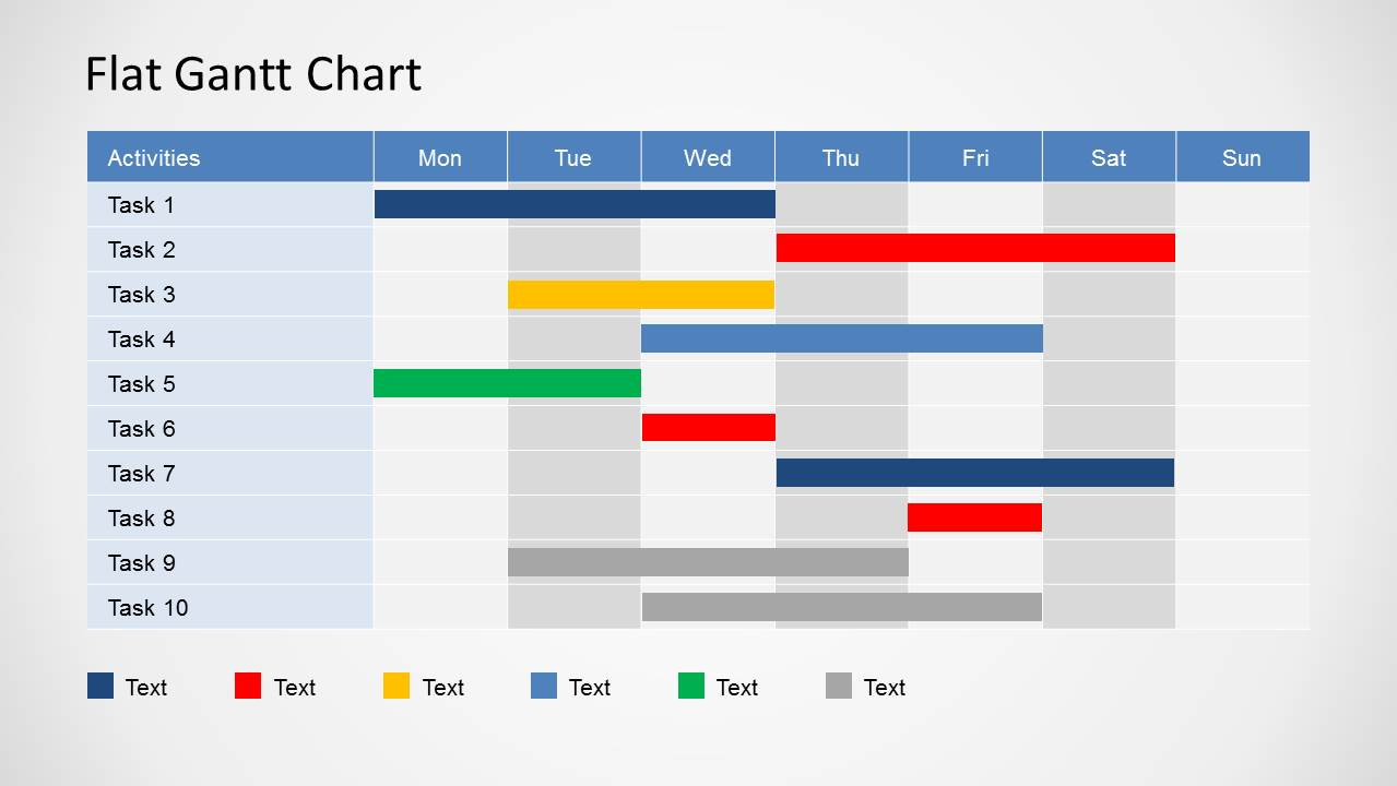 flat gantt chart for powerpoint daily planning slidemodel