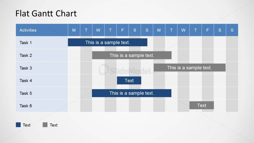 Flat Gantt Chart for PowerPoint - 2 Weeks