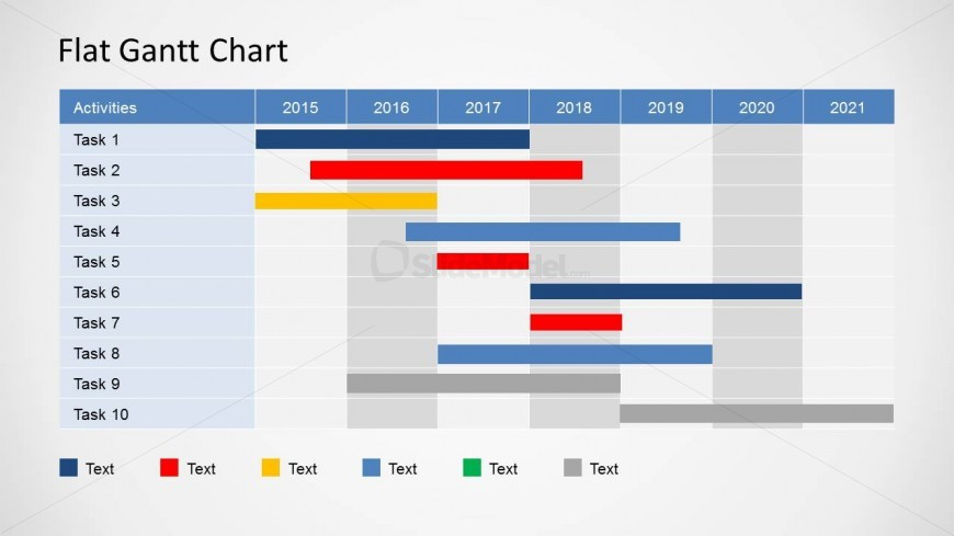 Flat Gantt Chart for PowerPoint - Yearly Plan