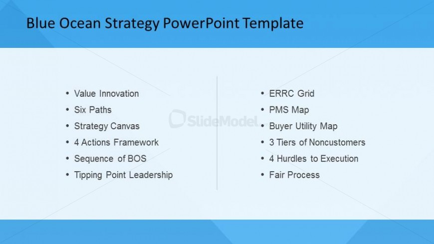 PowerPoint Slide of Blue Ocean Strategy List of Tools