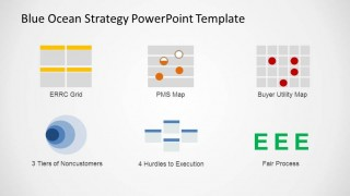 Presentation Slide with Six Blue Ocean Strategy Analysis Tools
