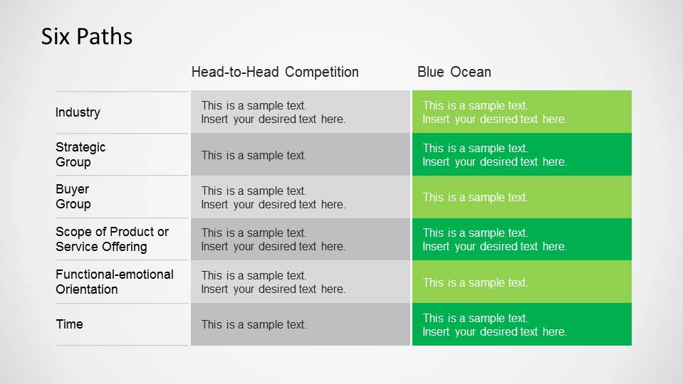 Blue ocean strategy powerpoint template slidemodel blue ocean strategy six path framework tool pronofoot35fo Choice Image