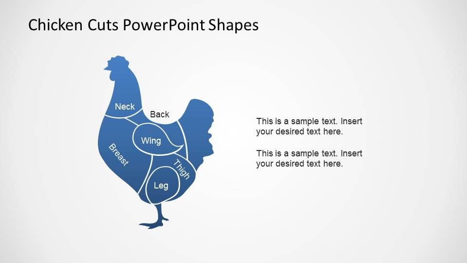 Blue Fill PowerPoint Chicken Shape with Meat Cuts outline