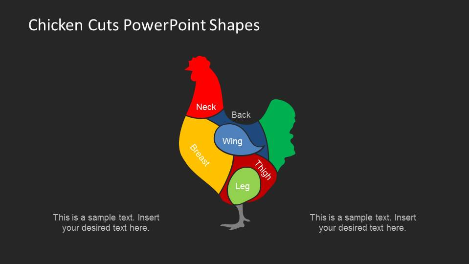 PowerPoint shapes of Poultry Meat Cuts with Black Background