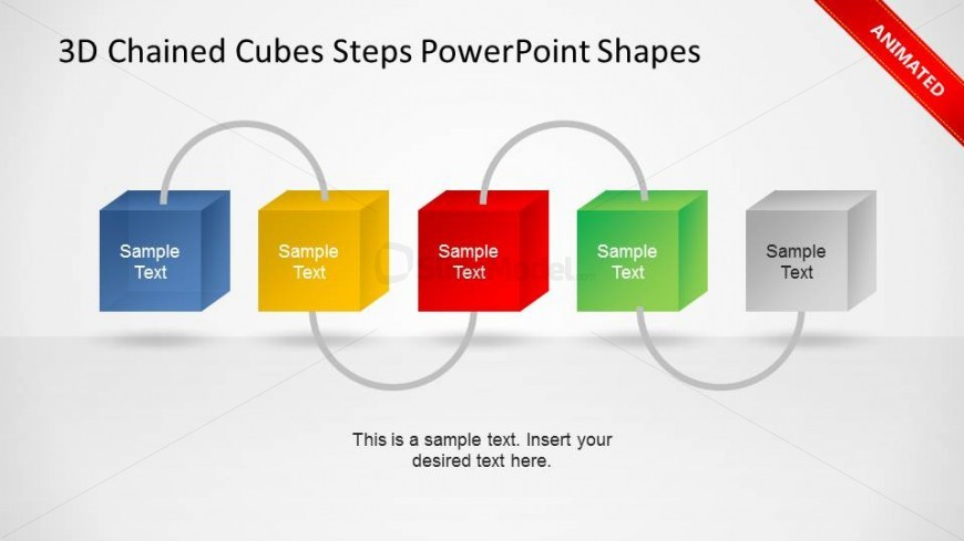 Animated Five Steps 3D Chained Cubes PowerPoint Diagram