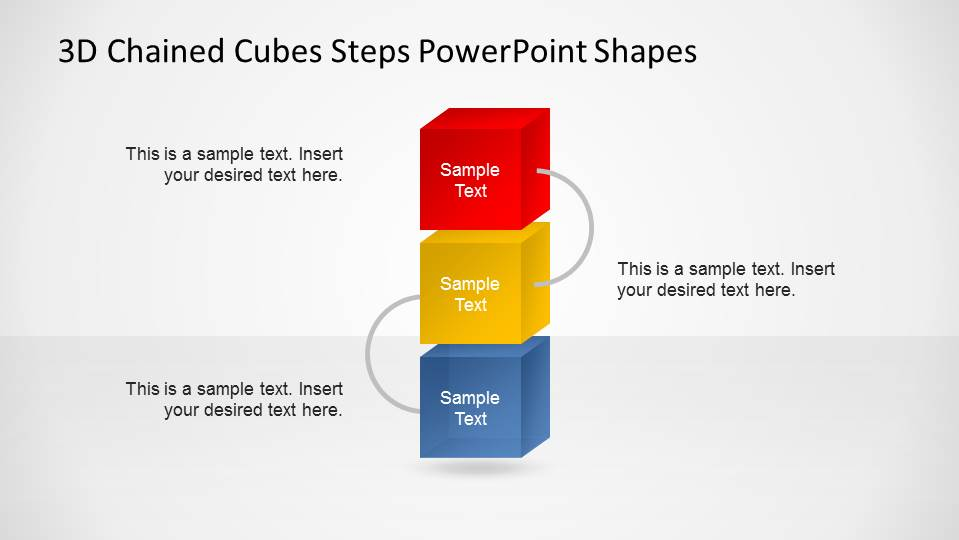 3D Chained Cubes Vertical PowerPoint Diagram