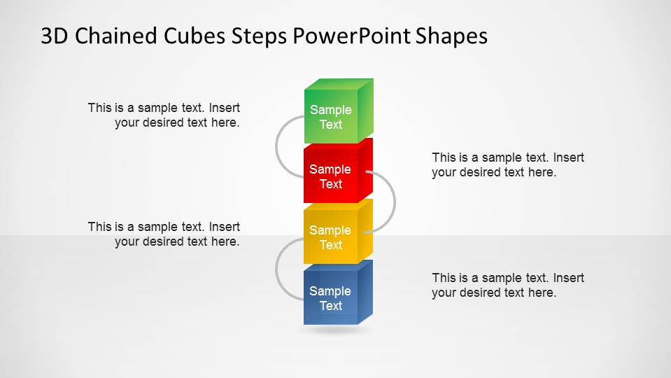 Vertical 3D Chained Cubes PowerPoint Shapes