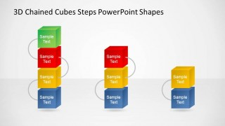 Summary Three to Five Vertical 3D Chained Cubes PowerPoint Diagrams