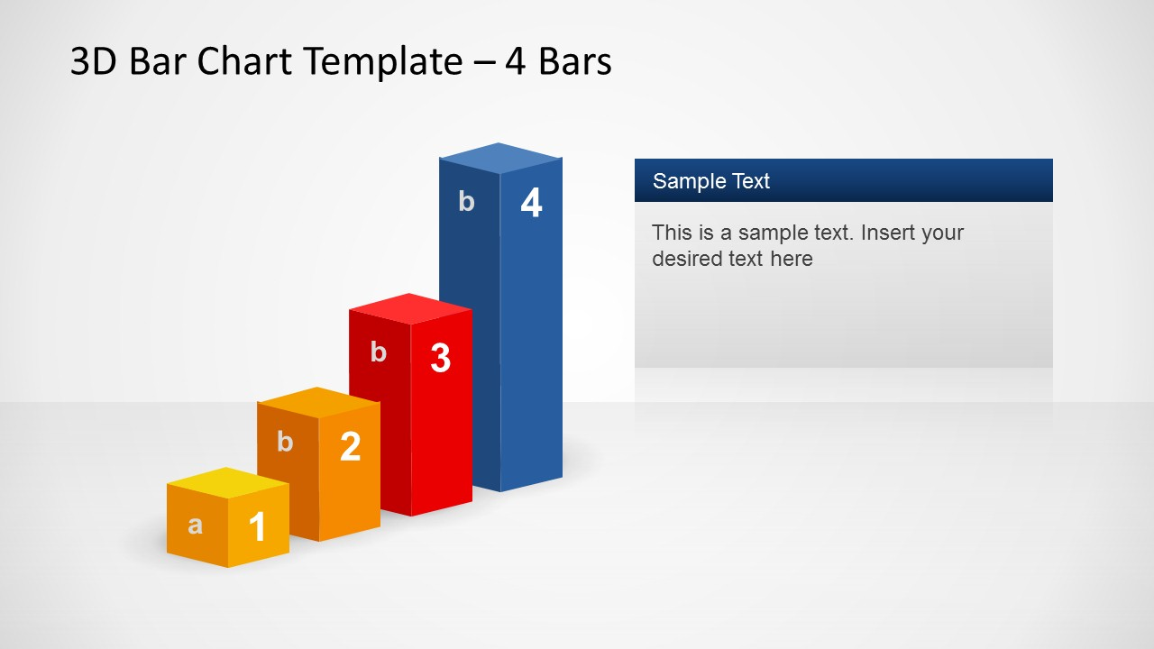 3d bar chart template design for powerpoint with 4 bars - slidemodel
