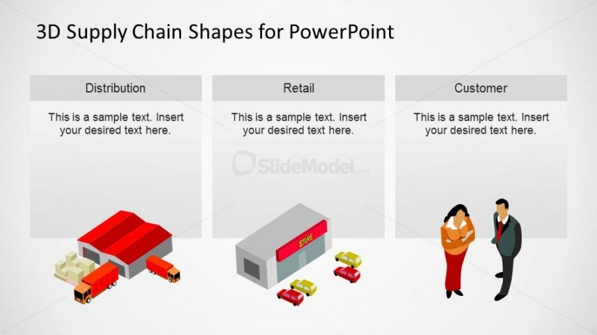 PowerPoint Slide with Distribution Retail and Customers Shapes
