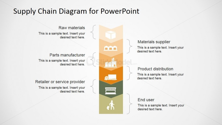 PowerPoint Supply Chain Management Diagram Flat