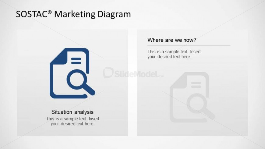 PowerPoint Icon Background Situation Analysis SOSTAC Slide