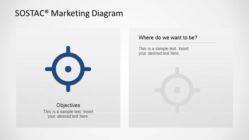 PowerPoint Slide Design with Icon Background for Objectives Focus