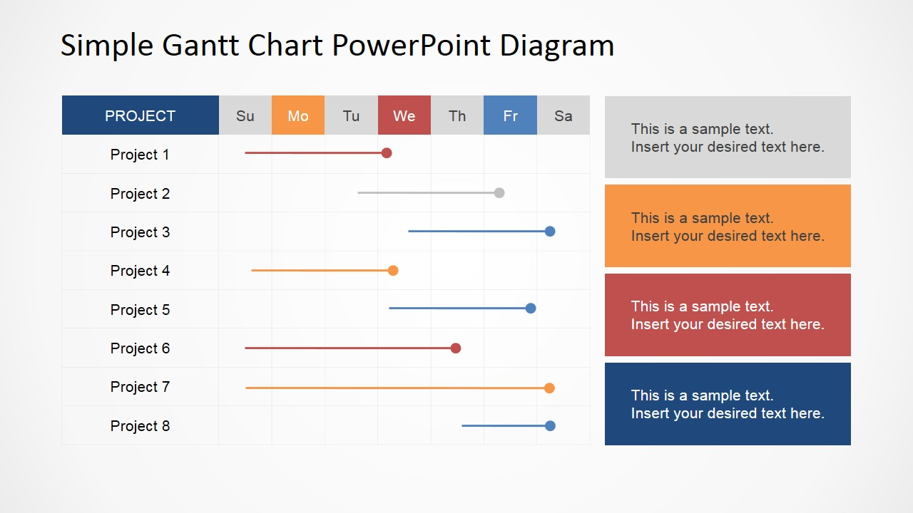 Simple gantt chart powerpoint diagram slidemodel