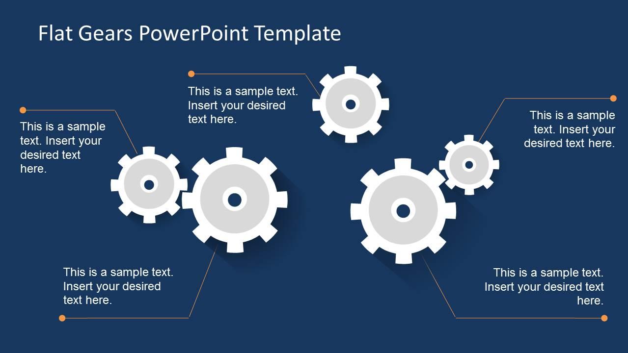 Modern flat gears powerpoint template slidemodel 5 flat gear shapes for powerpoint toneelgroepblik Gallery
