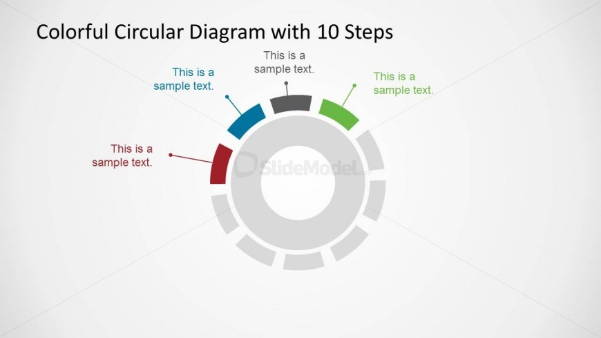 Creative Circular Diagram with 4 Highlighted Elements