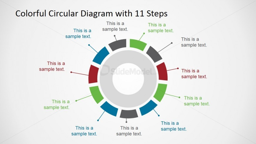 PowerPoint Concentrical Segmented Diagram 11 Steps