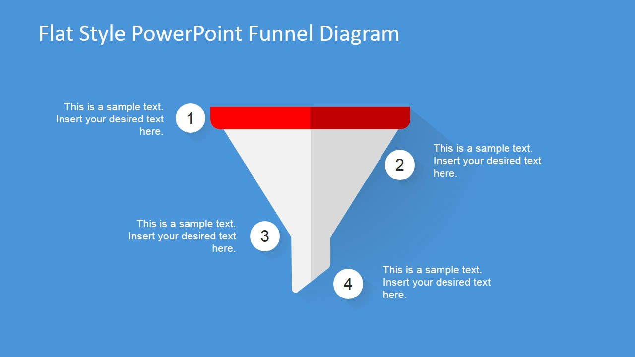 flat design powerpoint funnel diagram slidemodel