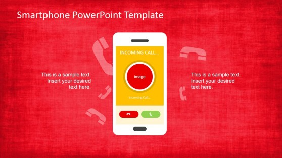 Red Texture PowerPoint Smartphone PowerPoint Shape
