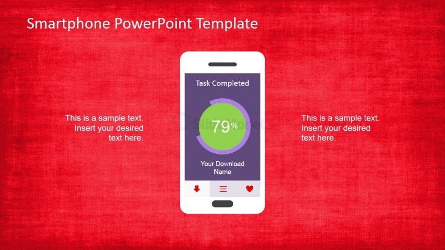 Smartphone Template with PowerPoint Shapes App in the Screen